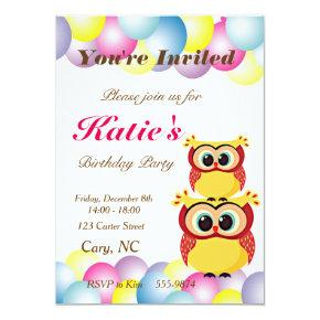 orange owl present birthday invitations candied clouds