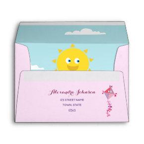 Unique Cute Summer Sun & Pink Kite Return Address Envelope
