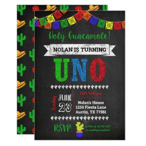 Uno Holy Guacamole First Birthday Invitation