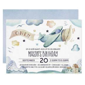 Up Up and Away Watercolor Airplane Birthday Party Invitation