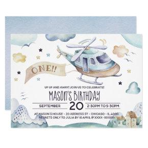 Up Up and Away Watercolor Helicopter Birthday Invitation