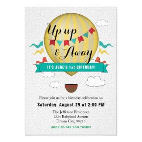 Up Up & Away Baby's First Birthday invitation