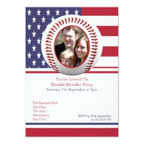 USA Flag Baseball Party Invitations