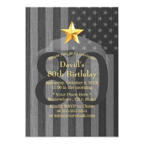USA Military Veteran Bald Eagle Birthday Party Card