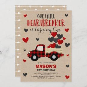 Valentine Birthday Invite Heartbreaker Plaid Truck
