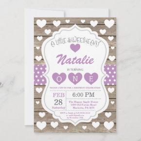Valentine Little Sweetheart First 1st Birthday Invitation