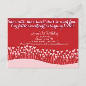 Valentine's First Birthday Invitation