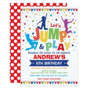 Vibrant Jump Bounce Play Birthday Trampoline Party Invitation