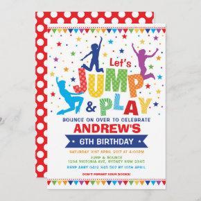 Vibrant Jump Bounce Play Birthday Trampoline Party Invitation