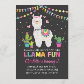 Vibrant Llama Birthday Party Whole Llama Fun Invitation