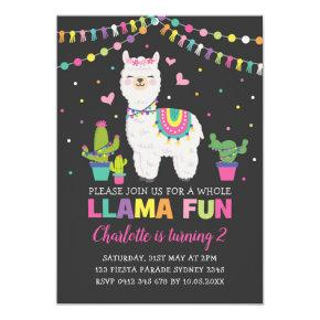 Vibrant Llama Birthday Party Whole Llama Fun Invitation