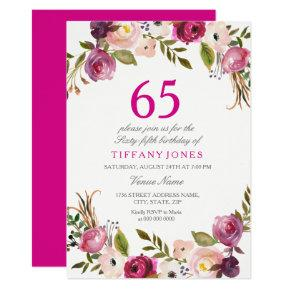 Vibrant Pink Botanical Floral 65th Birthday Invite