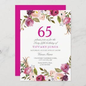 Vibrant Pink Botanical Floral 65th Birthday Invite