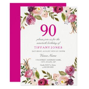Vibrant Pink Botanical Floral 90th Birthday Invite