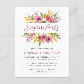 Vibrant Watercolor Floral Surprise Birthday Party Invitation Post