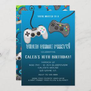 Video Game Controllers Gamer Birthday Party Invitation