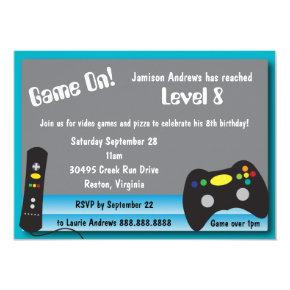 Video Game Truck Birthday Party Invitations