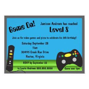 Video Game Truck Birthday Party Invitation