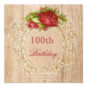 Vintage 100th Birthday Red Rose Wooden Frame Card