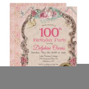 Vintage 100th Centenarian Birthday Invitation