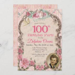 Vintage 100th Centenarian Birthday Invitation