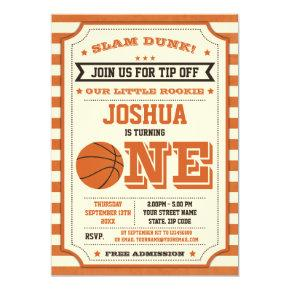 Vintage 1st Birthday Basketball Ticket Invitation