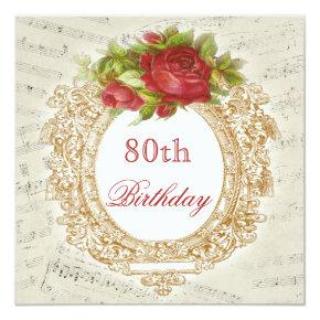 Vintage 80th Birthday Red Rose Frame Music Sheet Invitation