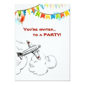 Vintage Airplane 1st Birthday Party Time Flies Invitation