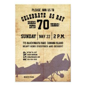 Vintage Airplane Birthday Invite