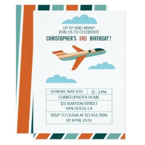 Vintage Airplane Birthday Party/Aeroplane Party Invitations