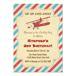 Vintage Airplane Birthday Party Invitation