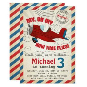 Vintage Airplane Birthday Party Invitation Invite