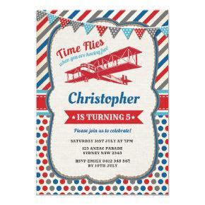 Vintage Airplane Birthday Pilot Adventure Invite
