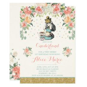 Vintage Alice In ONEderland Birthday Invitations