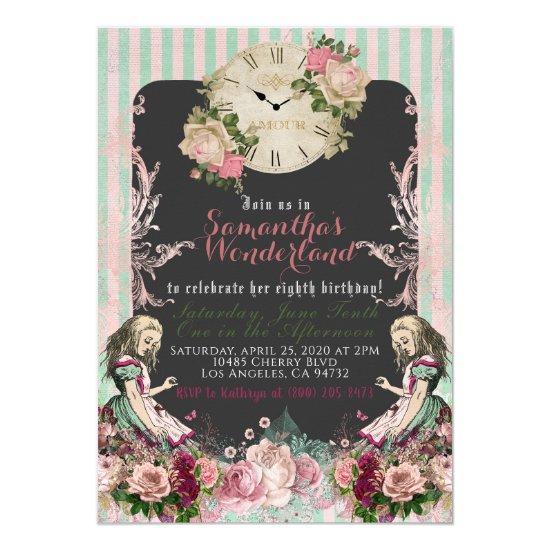 Vintage Alice in Wonderland Birthday Invitation