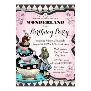 Vintage Alice in Wonderland Birthday Party Invitations