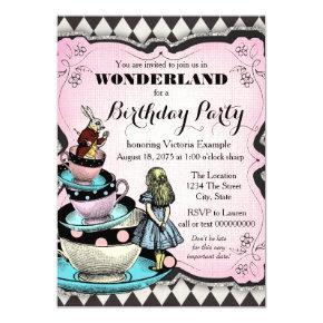 Vintage Alice in Wonderland Birthday Party Invitation