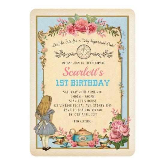 Vintage Alice In Wonderland Birthday Tea Party Invitations Candied