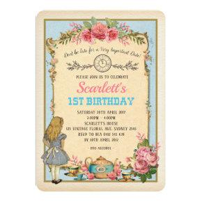 Vintage Alice in Wonderland Birthday Tea Party Invitations
