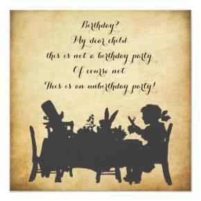 Vintage Alice in Wonderland Tea Party Birthday Invitations
