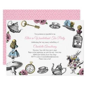 Vintage Alice in Wonderland Tea Party Invitation