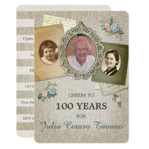 Vintage Antique Linen   Choose Your Year 3 Photo Invitation