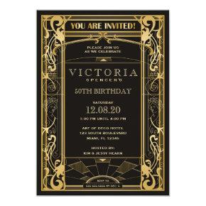Vintage Art Deco Great Gatsby Birthday Invitations