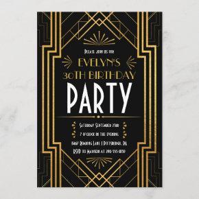 Vintage Art Deco Roaring 20s Birthday Invitation