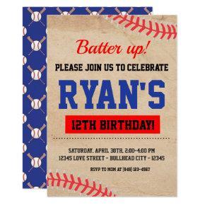Vintage Baseball Batter Up Boy's Birthday Invitation