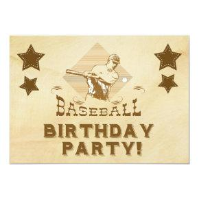 Vintage Baseball Birthday Invitations