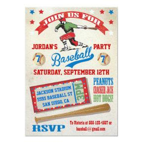 Vintage Baseball birthday party invitations