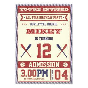 Vintage Baseball Birthday Party Invite