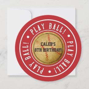 Vintage Baseball PLAY BALL Red Party Invitation