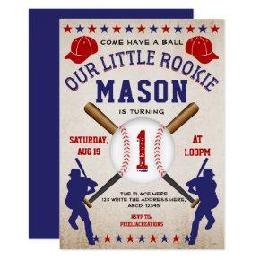 Vintage Baseball, Sport, Boy 1st Birthday Invitation